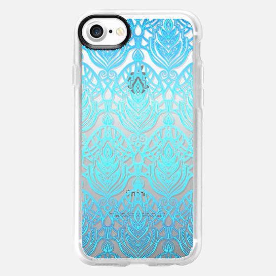 Turquoise Art Deco Pattern on Transparent -