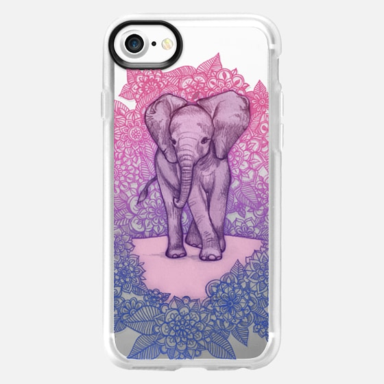 Cute Baby Elephant in pink, purple & blue on transparent - Wallet Case