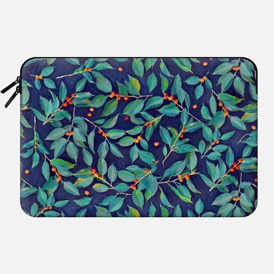 Leaves + Berries in Navy Blue, Teal & Tangerine sleeve - Macbook Sleeve