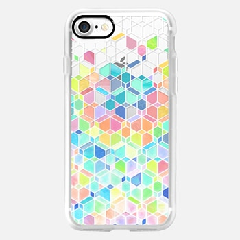 iPhone 7 Case Rainbow Cubes and Diamonds on Transparent