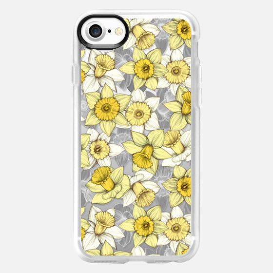 Daffodil Daze - yellow & grey daffodil pattern - translucent - Wallet Case
