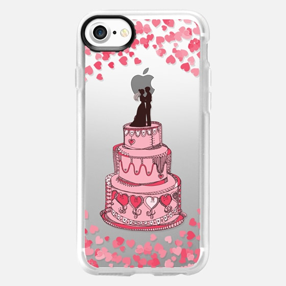 Cute Bridal Couple on Cake - Coral on transparent - Wallet Case