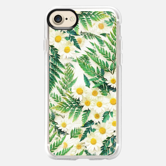 Textured Vintage Daisy and Fern Pattern - Wallet Case