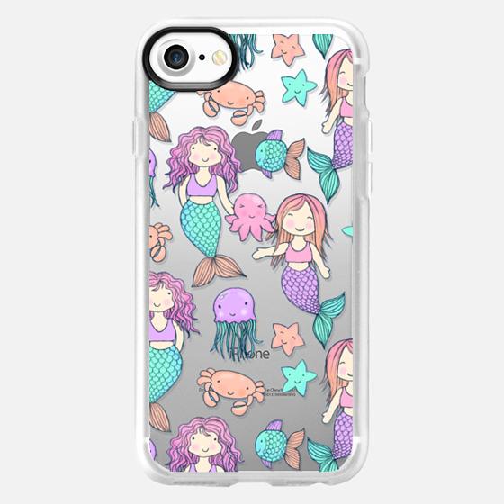 Little Kawaii Mermaids on transparent -
