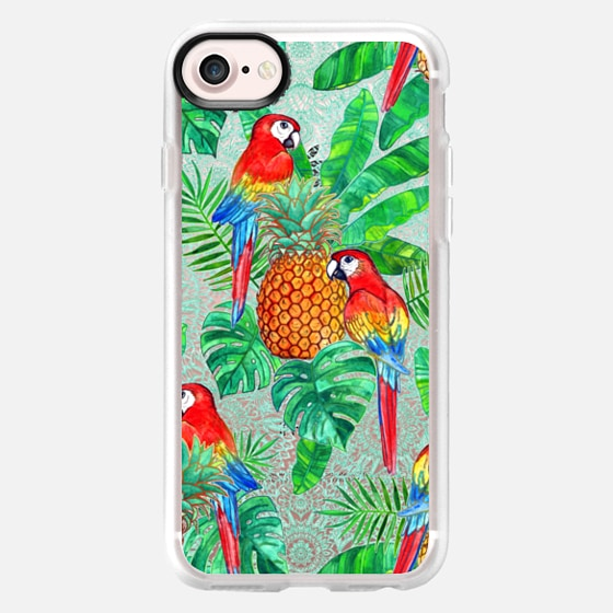 Pineapples and Parrots Tropical Summer Pattern transparent -
