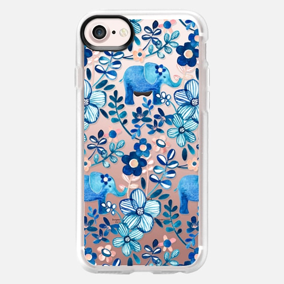 Little Blue Elephant Watercolor Floral on Transparent -