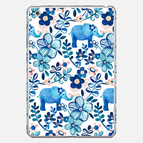 Little Blue Elephant Watercolor Floral Pattern iPad cover - Photo Cover