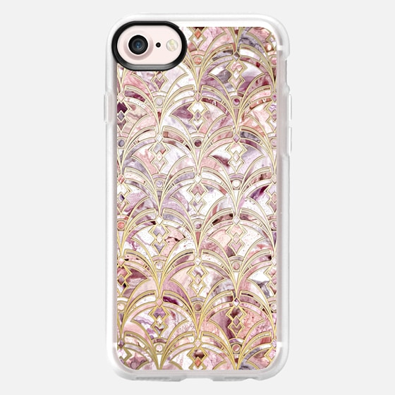 Dusty Rose and Coral Art Deco Marbling Pattern -