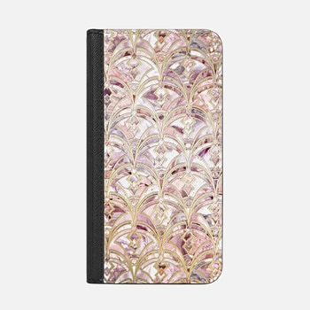iPhone ウォレットケース -  Dusty Rose and Coral Art Deco Marbling Pattern