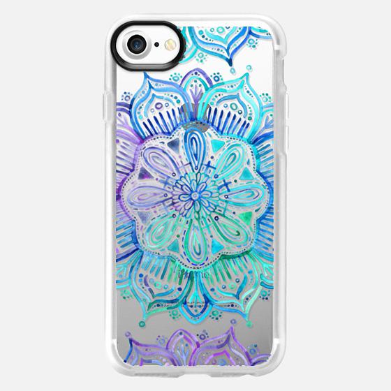 Iridescent Aqua and Purple Watercolor Mandala on transparent -