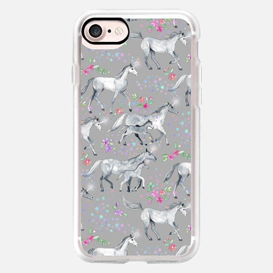 Unicorns and Stars on Soft Grey -
