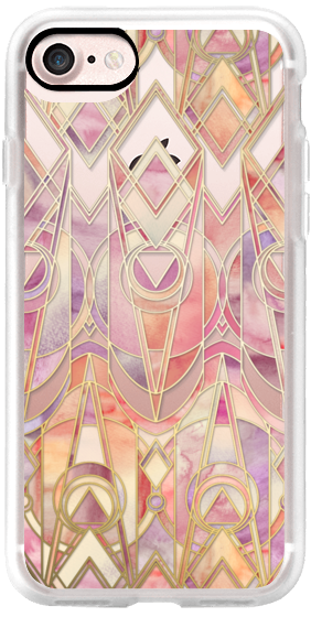 Glowing Coral and Amethyst Art Deco Pattern Transparent