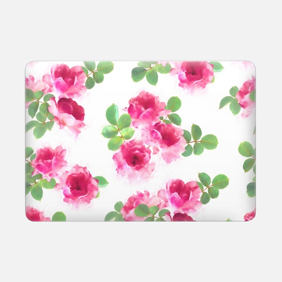 Raspberry Pink Painted Roses sleeve - Macbook Snap Case