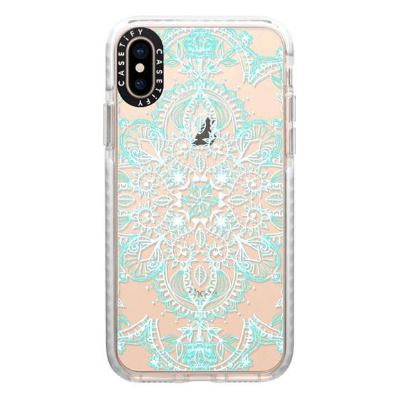iPhone XS Cases - Aqua and White Lace Mandala - transparent
