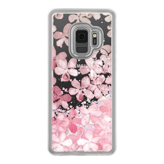 Samsung Galaxy S9 Cases - Spring Blossoms - pastel pink & cream floral painted pattern on transparent