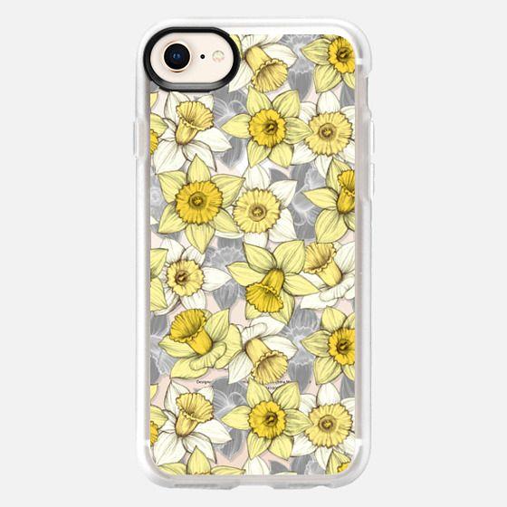 Daffodil Daze - yellow & grey daffodil pattern - translucent - Snap Case