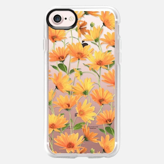 Radiant Orange Daisies on clear - Classic Grip Case