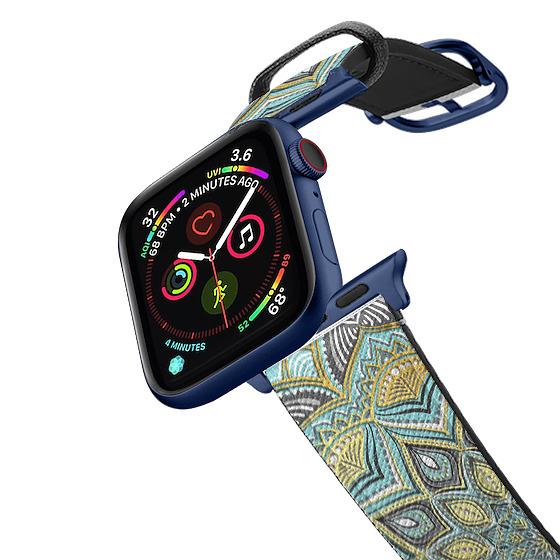 CASETiFY Apple Watch Band (38mm/40mm) Saffiano Leather Watchband V4 - Sunny Skies Mandala band