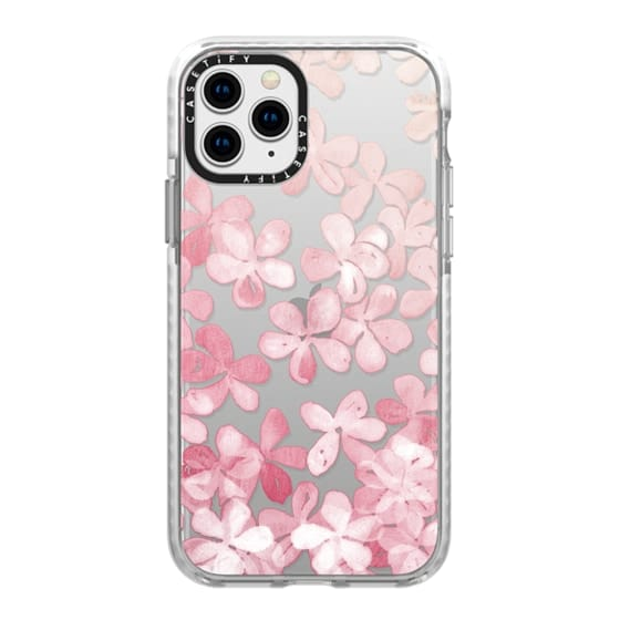 iPhone 11 Pro Cases - Spring Blossoms - pastel pink & cream floral painted pattern on transparent