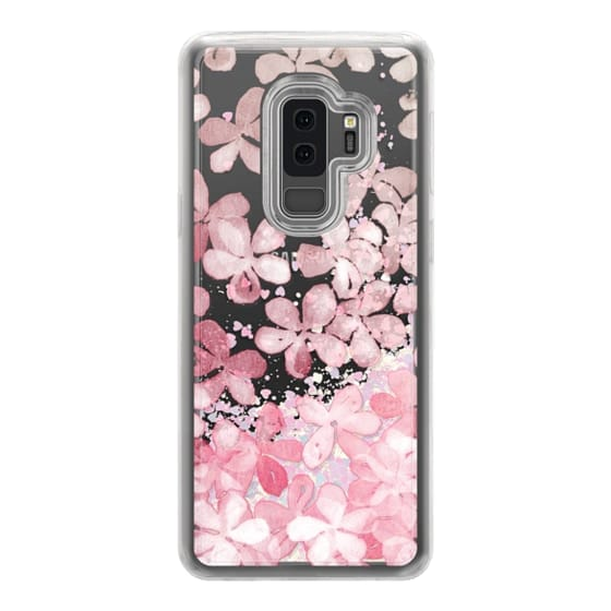 Samsung Galaxy S9 Plus Cases - Spring Blossoms - pastel pink & cream floral painted pattern on transparent