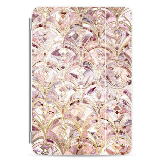 iPad Mini 4 Covers - Dusty Rose and Coral Art Deco Marbling Pattern iPad cover