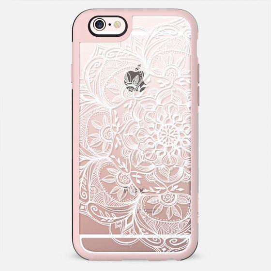 Whimsical White Lace Mandala on transparent - New Standard Case