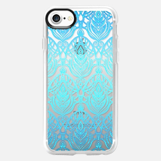Turquoise Art Deco Pattern on Transparent -