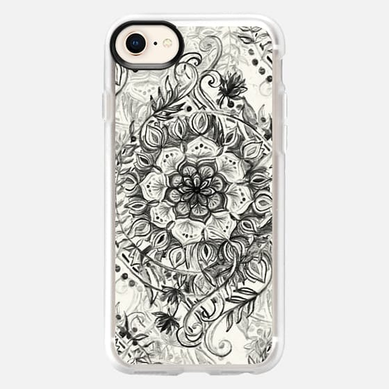 Messy Boho Floral in Charcoal and Cream (centered)  - Snap Case