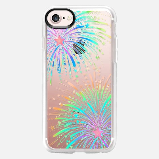 New Year's Radiant Rainbow Fireworks - transparent - Classic Grip Case
