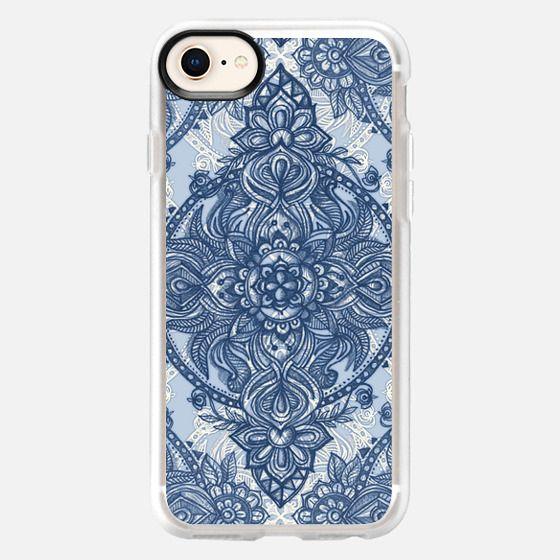 Denim Blue Lace Pencil Doodle - Snap Case