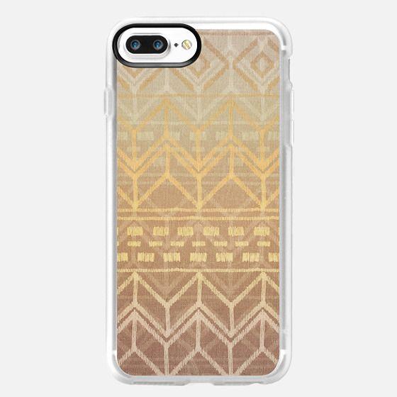 Neutral Tan & Gold Ikat Pattern -