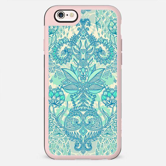 Botanical Geometry - nature pattern in blue, mint green & cream - New Standard Case