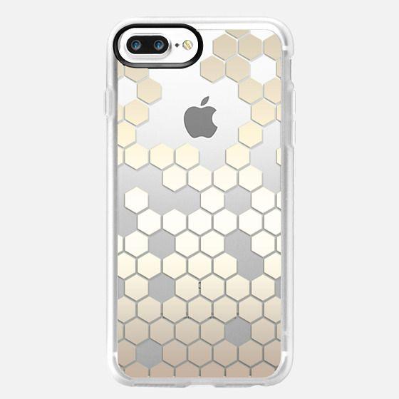 Nude Metallic Effect Hexagon Pattern on Crystal Transparent -