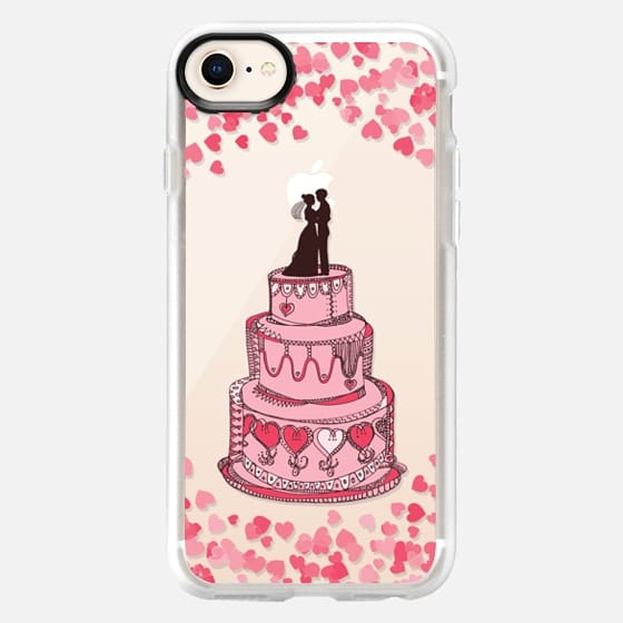 Cute Bridal Couple on Cake - Coral on transparent - Snap Case