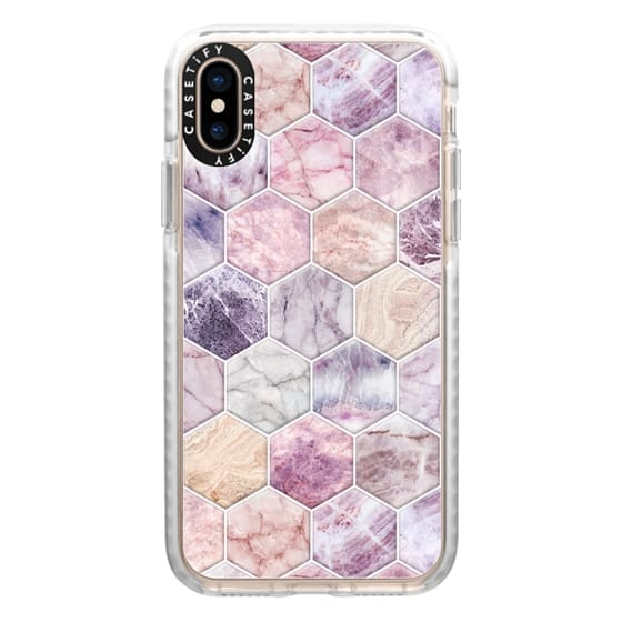 iPhone XS Cases - Rose Quartz and Amethyst Stone and Marble Hexagon Tiles large