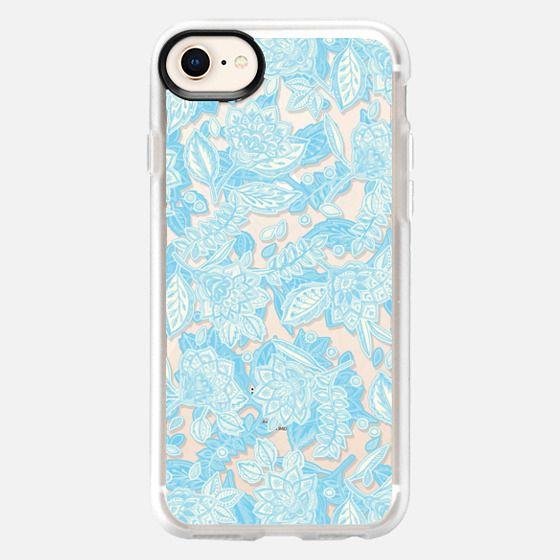 Pale Blue Decorative Floral on Transparent - Snap Case
