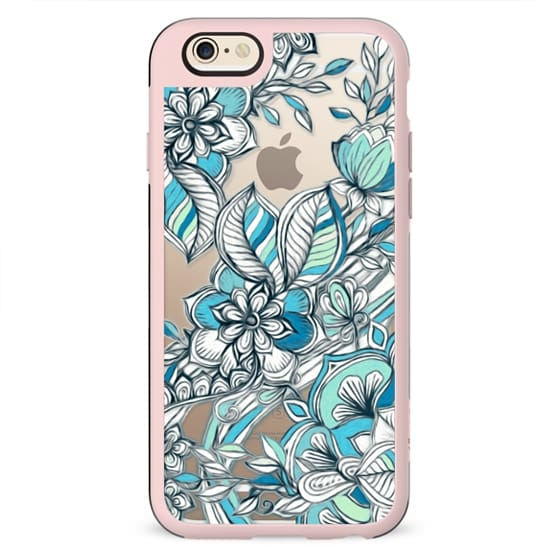 Floral Diamond Doodle in Teal and Turquoise - transparent