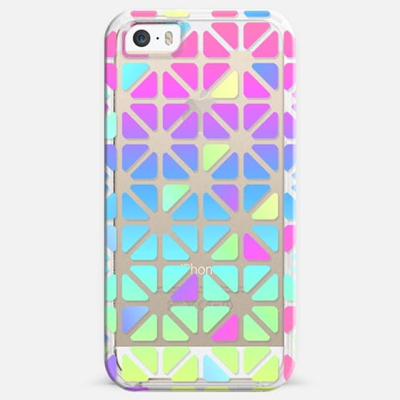 Soft Triangles in Rainbow Pastels - Transparent - Classic Snap Case