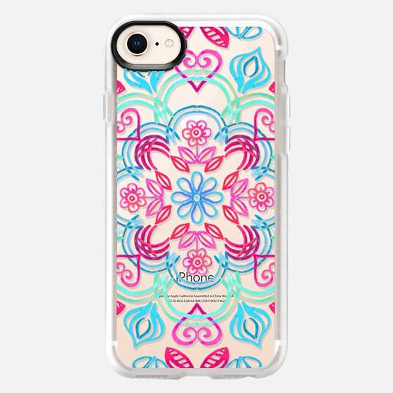 Happy Folk Floral in Mint, Aqua & Pink on Transparent - Snap Case