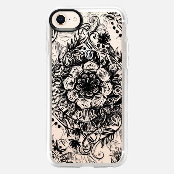 Messy Boho Floral in Black on Transparent - Snap Case