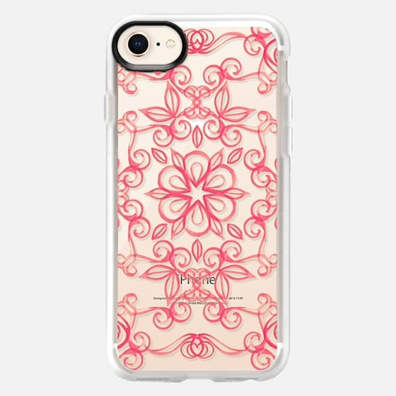 Painted Coral Floral on Crystal Transparent - Snap Case