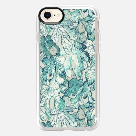Fig Leaf Fancy - a pattern in teal and grey - Snap Case
