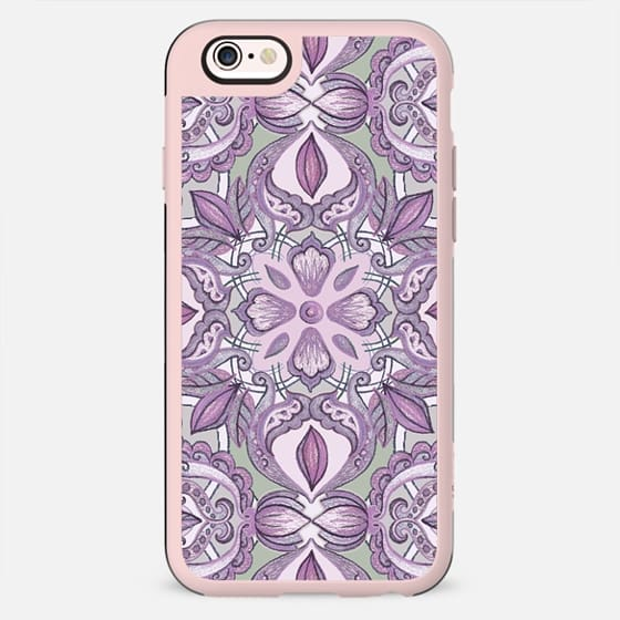 Lavender and Grey - Floral Pattern in Colored Crayon