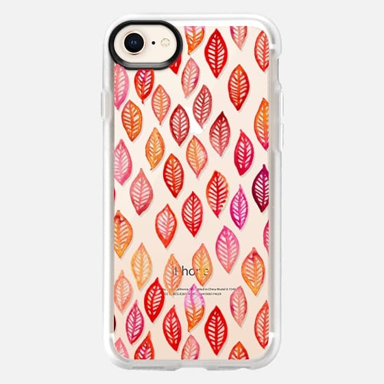 Watercolor Leaf Pattern in Autumn Colors on Crystal Transparent - Snap Case