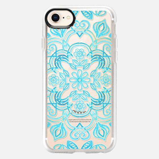 Turquoise Symmetry - Transparent Aqua Floral Pattern - Snap Case
