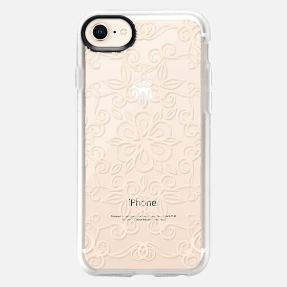 Painted Cream Floral Doodle on Crystal Transparent - Snap Case