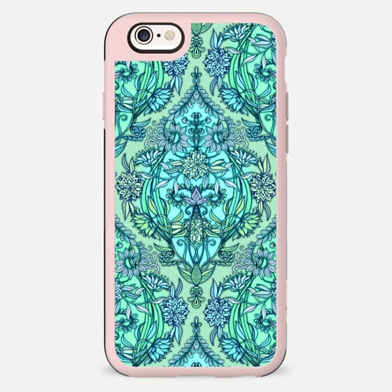 Botanical Moroccan Doodle Pattern in Mint Green, Lilac & Aqua - New Standard Case