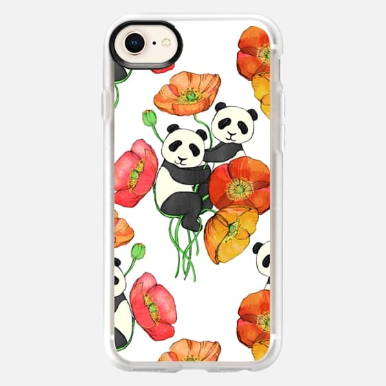Poppies & Pandas - cute animal & floral pattern on white - Snap Case