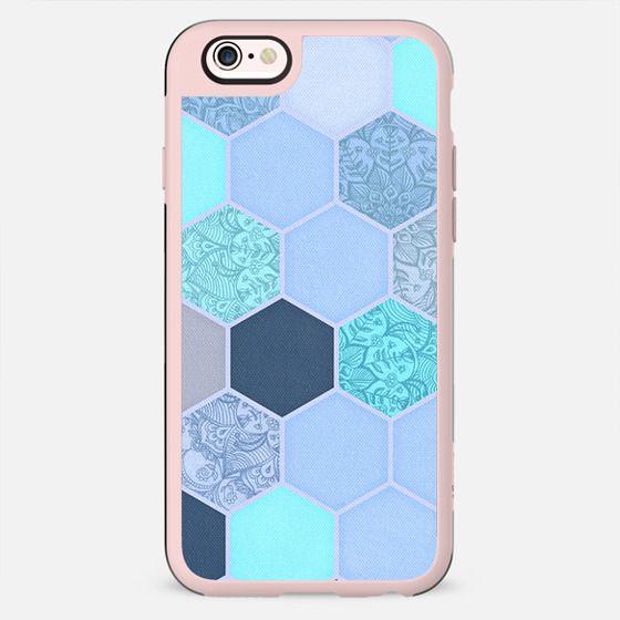 Denim Blue - Aqua & Indigo Hexagon Doodle Pattern -
