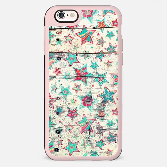 Grunge Stars in Teal & Tangerine on Shabby Chic Wood - New Standard Case